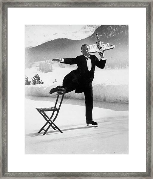 Waiter Renie Brequet W. A Tray Of Cockta Framed Print