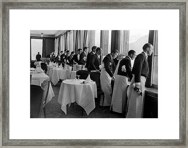Waiters At The Grand Hotel Line Up At Framed Print