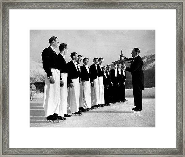 Waiters In Ice Skates Learning How To Se Framed Print