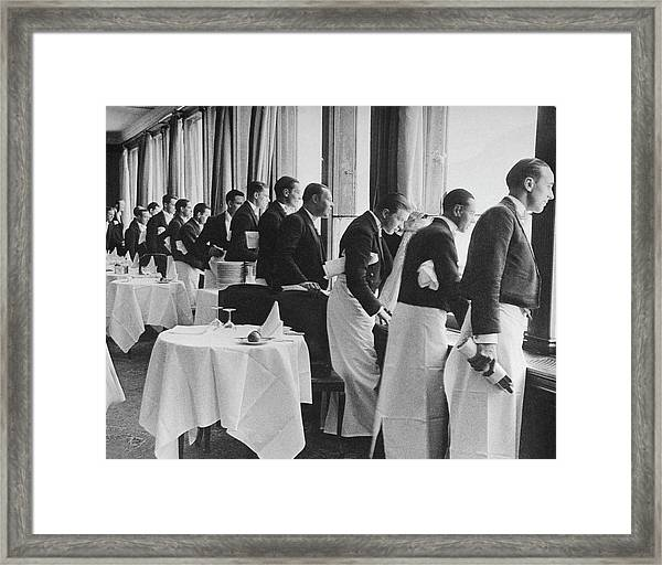 Waiters In The Grand Hotel Dining Room L Framed Print by Alfred Eisenstaedt