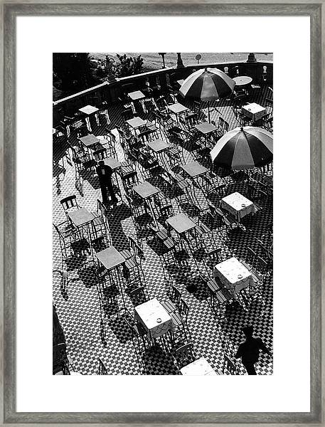 Waiters On The Sunny Terrace Of The Hote Framed Print