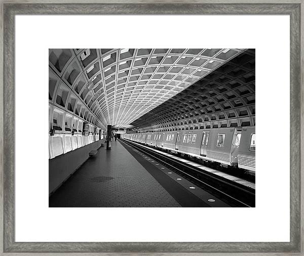 Waiting At Pentagon City Station Framed Print