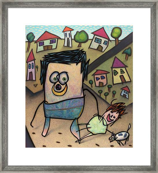 Walkin The Dog Framed Print