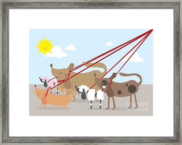 Walking Dogs Vectorillustration Framed Print