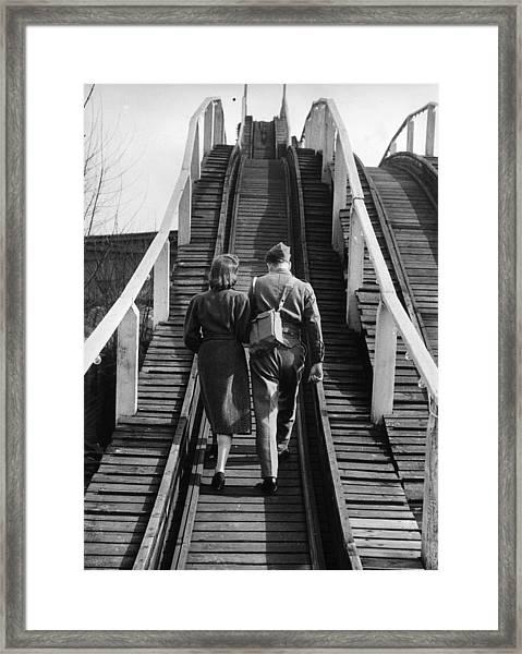 Walking On Rails Framed Print