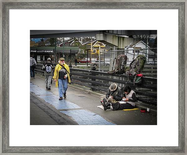 Walking-travellers Framed Print