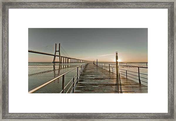 Walkway And Bridge Framed Print