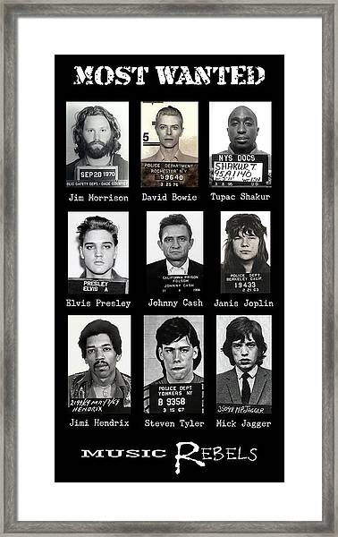 Wanted Rebels Of The Music Industry Framed Print