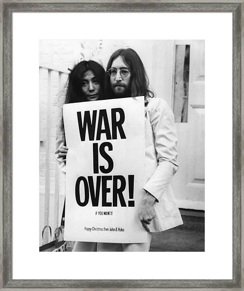 War Is Over Framed Print by Frank Barratt