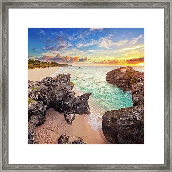 Warwick Long Bay At Dawn, Caribbean Framed Print