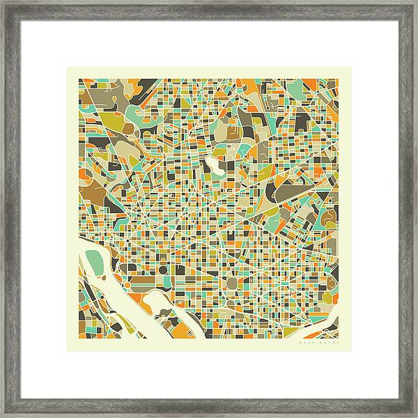 Washington Dc Map 1 Framed Print