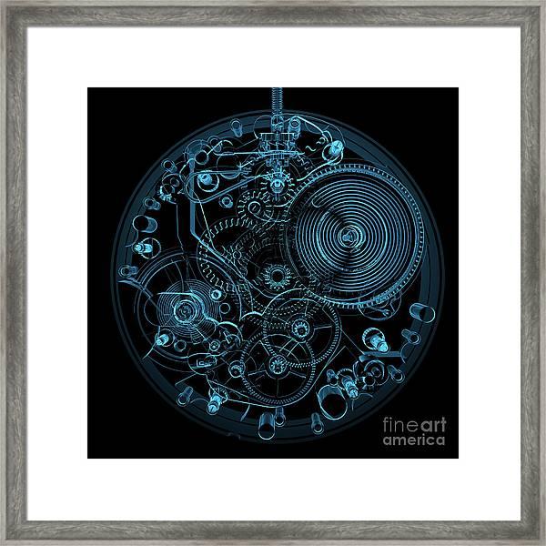 Watch 3d Xray Blue Transparent Framed Print