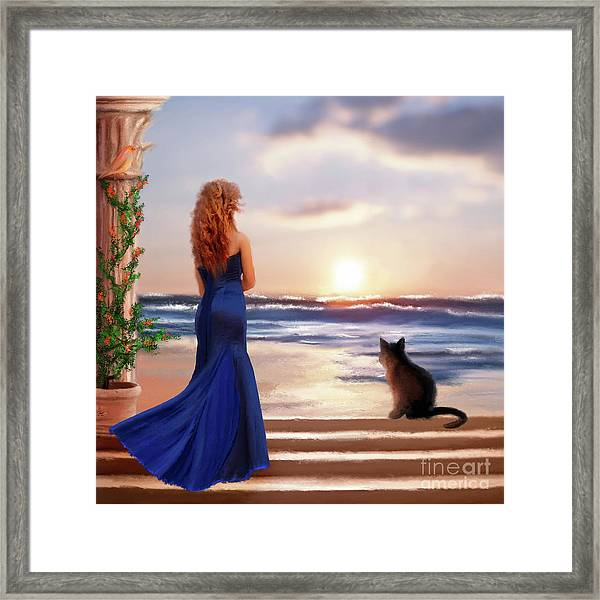 Watching The Sunset Together Framed Print