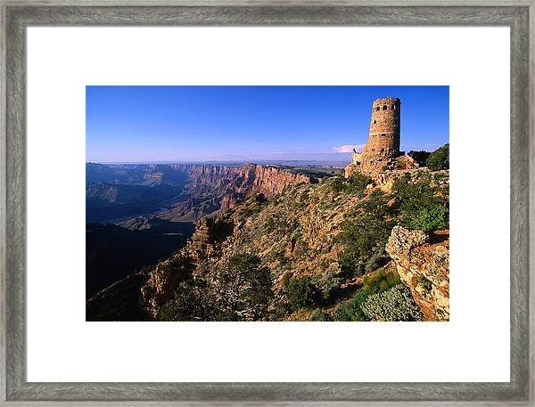 Watchtower At Desert View On Canyons Framed Print