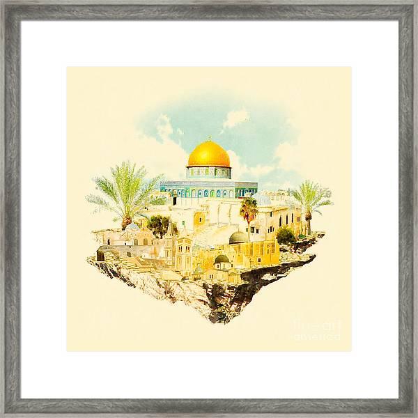 Water Color Illustration Jerusalem View Framed Print