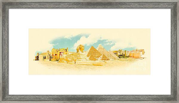 Water Color Panoramic Egypt Illustration Framed Print