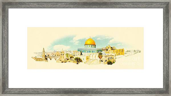 Water Color Panoramic Jerusalem Framed Print