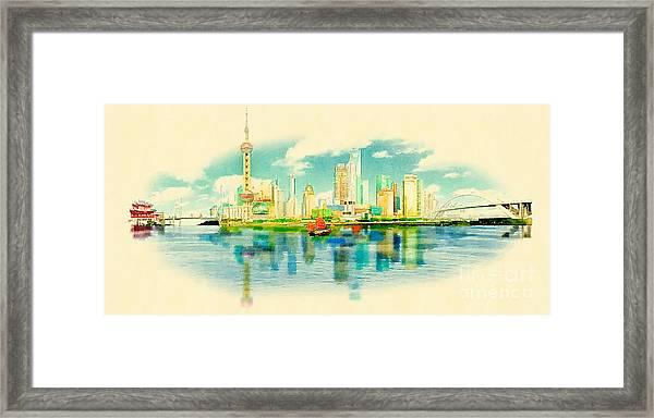 Water Color Panoramic Shanghai Framed Print