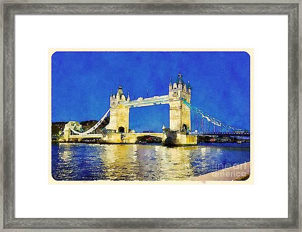 Water Color Tower Bridge London Framed Print
