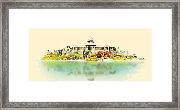 Water Color Vector Panoramic Cuba Framed Print