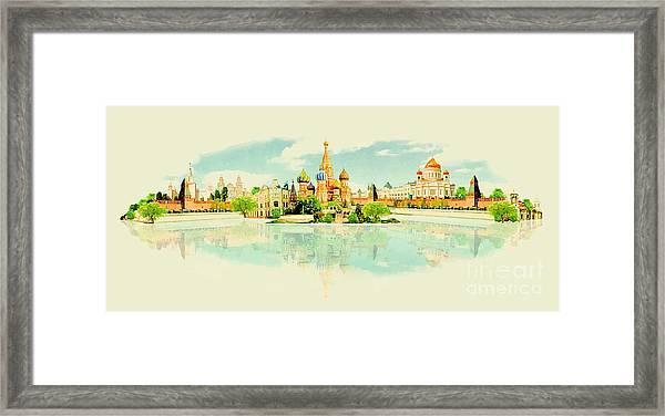 Water Color Vector Panoramic Moscow View Framed Print