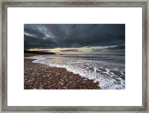 Water Coming Up On The Shore Under Framed Print