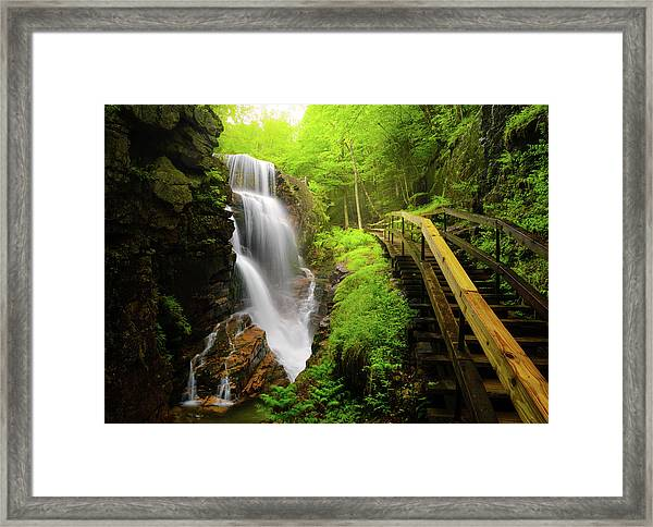 Water Falls In The Flume Framed Print by Noppawat Tom Charoensinphon