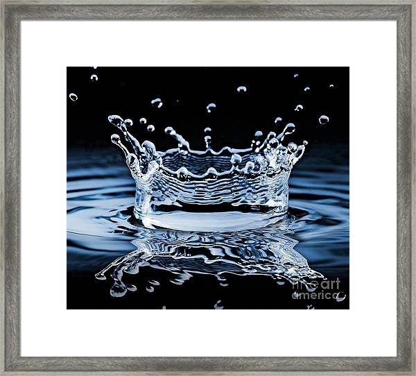 Water Splash On Black Background Framed Print by 26kot