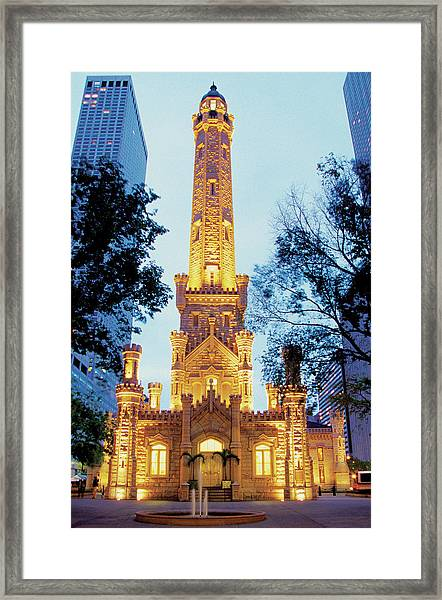 Water Tower At Night In Chicago Framed Print