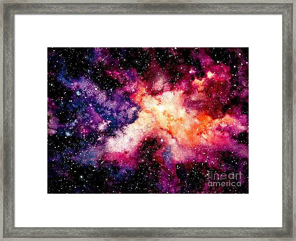 Watercolor Background With Outer Space Framed Print