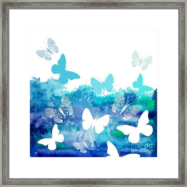 Watercolor Blue Background With Framed Print