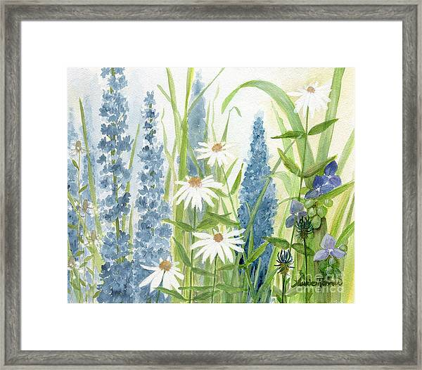 Watercolor Blue Flowers Framed Print
