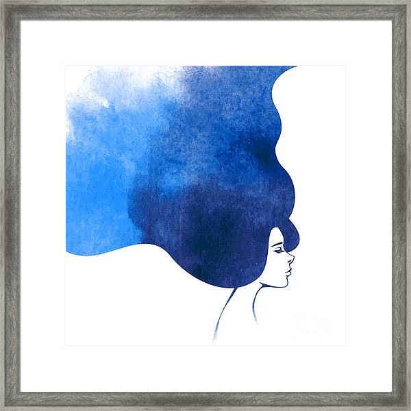 Watercolor Fashion Woman With Long Framed Print