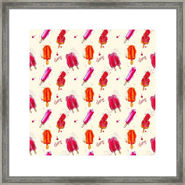 Watercolor Ice Cream Popsicle Seamless Framed Print