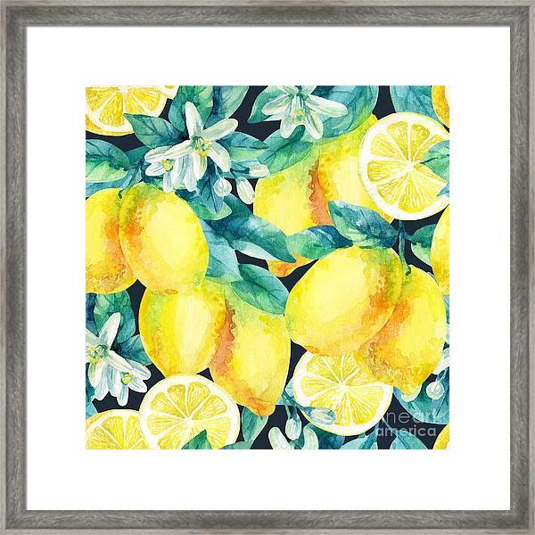 Watercolor Lemon Fruit Branch With Framed Print
