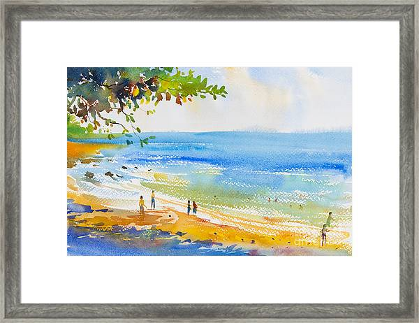 Watercolor Original  Seascape Painting Framed Print