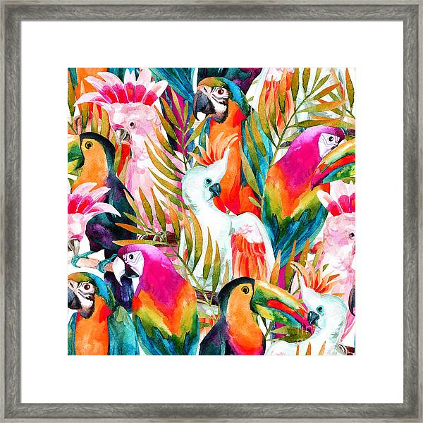 Watercolor Parrots Seamless Pattern On Framed Print