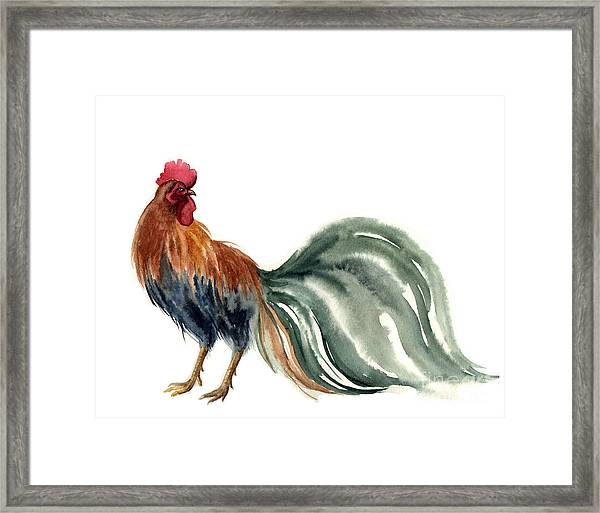 Watercolor Rooster. Farm Animals Framed Print