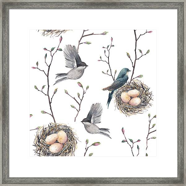 Watercolor Seamless Pattern With Nest Framed Print