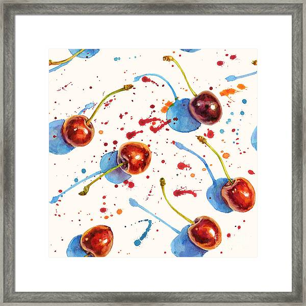 Watercolor Seamless Texture With Ripe Framed Print