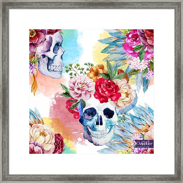 Watercolor, Skull, Flowers, Indian Framed Print by Anastasia Lembrik