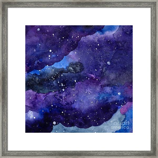 Watercolor Space Texture With Glowing Framed Print