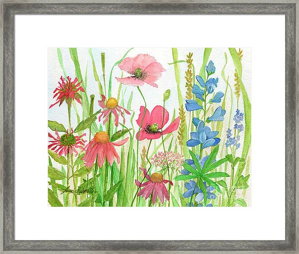 Watercolor Touch Of Blue Flowers Framed Print