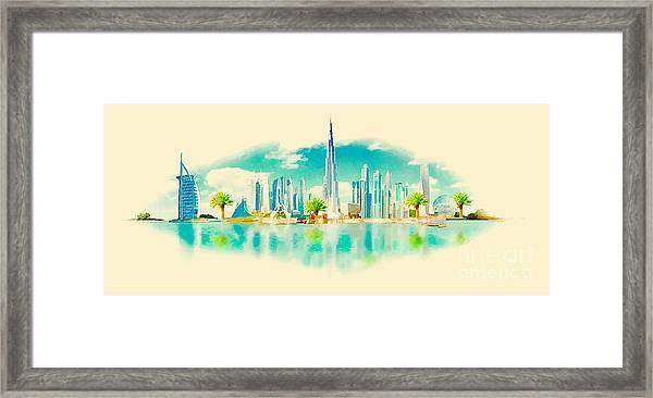 Watercolor Vector Panoramic Dubai Framed Print