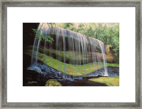 Framed Print featuring the painting Waterfall by Said Marie