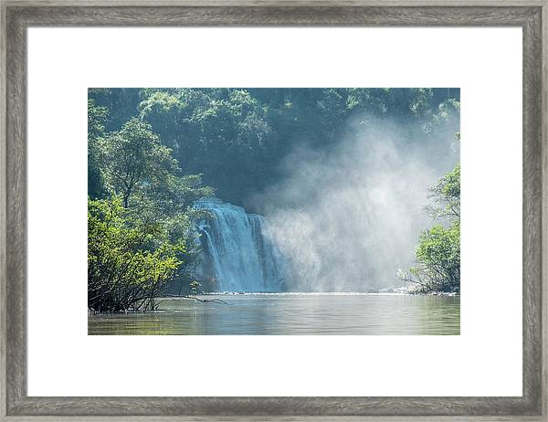 Waterfall, Sunlight And Mist Framed Print