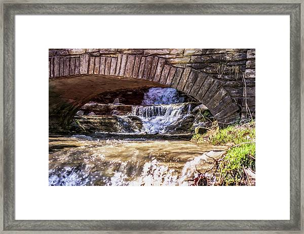 Waterfalls Through Stone Bridge Framed Print