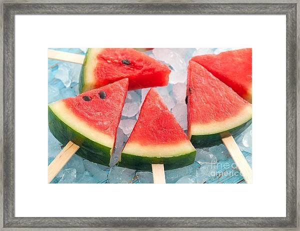 Watermelon Popsicle Raw Food Yummy Framed Print
