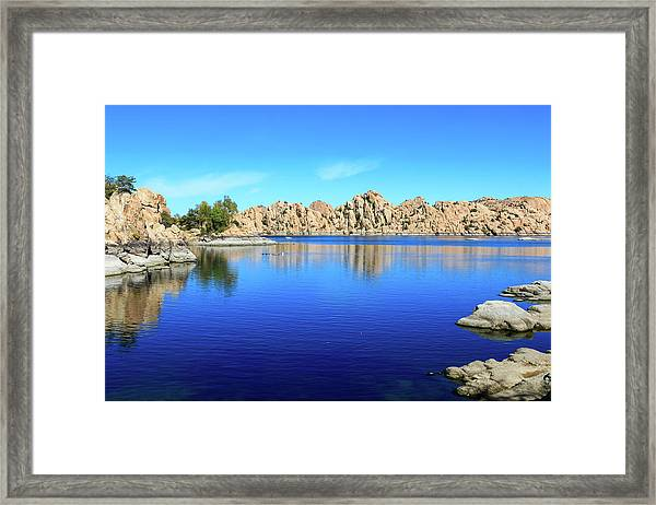 Framed Print featuring the photograph Watson Lake And Rock Formations by Dawn Richards