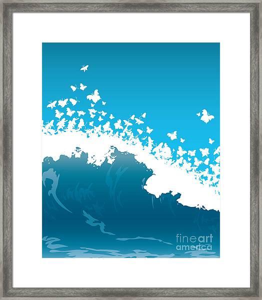 Wave Illustration Framed Print by Mire